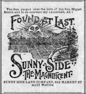 Advertisement from SF Call, May 1891. We have many more hills than is depicted here. From Newspapers.com.