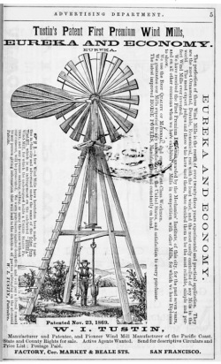 19th-century windmill by Tustin Company, built in San Francisco. Typical size, 30 ft tall. From Archive.org.