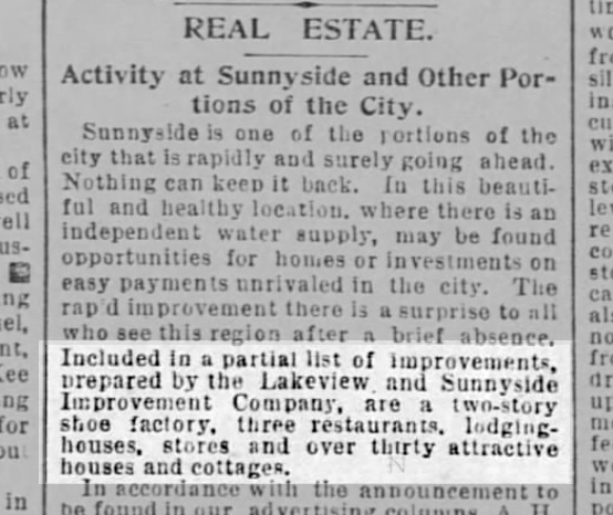 Notice about Sunnyside improvements, including three restaurants. SF Call, 9 April 1893. From Newspapers.com.