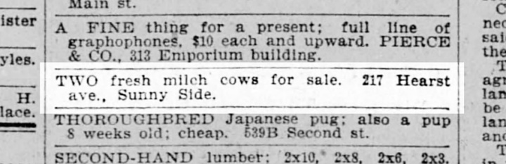 1898 classified advertisement from SF Call.