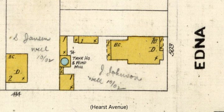 1905 Sanborn Map, showing 503 Edna, then on two lots. From DavidRumsey.com.