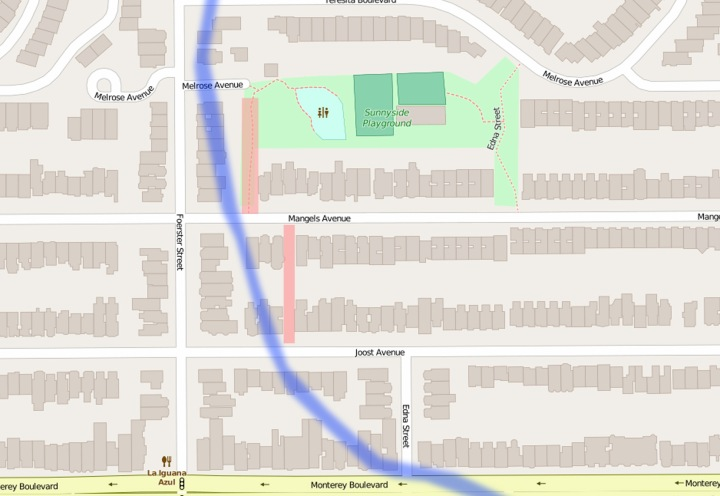 Position of City's sewer-drainage lots (pink) and old path of Creek (blue). Composite by Amy O'Hair from map on OpenStreetMap.org.