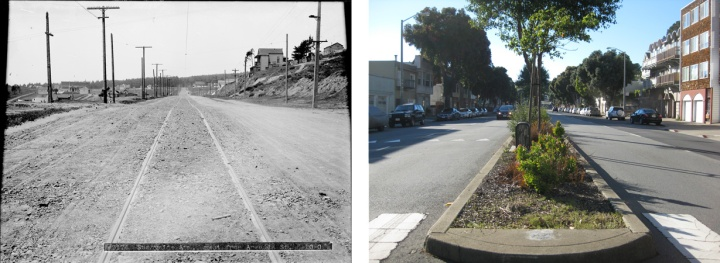 Comparing 1909 and 2015: the view looking west on Monterey Blvd at Detroit Street. Left photo courtesy SFMTA id#U02174; SFMTA.com/photoshelter. Right photo: Amy O'Hair
