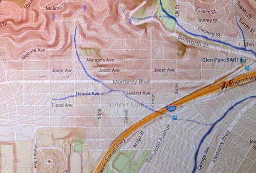 Where the creek in Sunnyside ran. Composite from SeepCity.org map and googlemaps for position of streets. Please visit SeepCity.org for more on this remarkable mapping of our old waterways.
