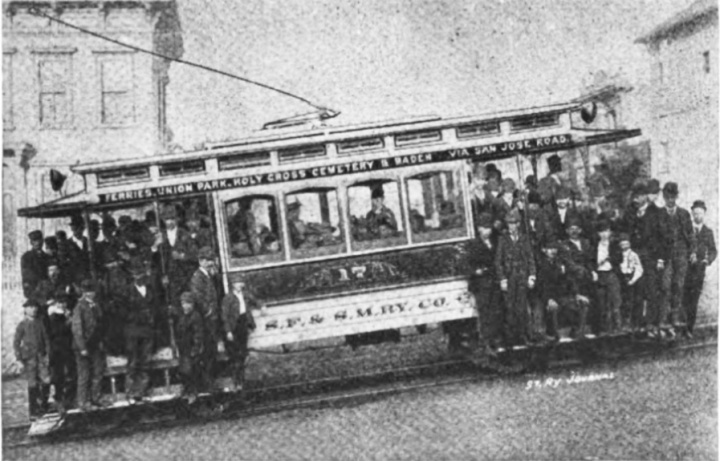 Overloaded streetcar on the electric line that ran to Sunnyside. From Street Railway Journal, July 1893.