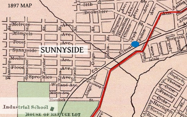 Location of County Jail. Blue dot is Schultz's Saloon. 1897 Rand McNally Map. From DavidRumsey.com.