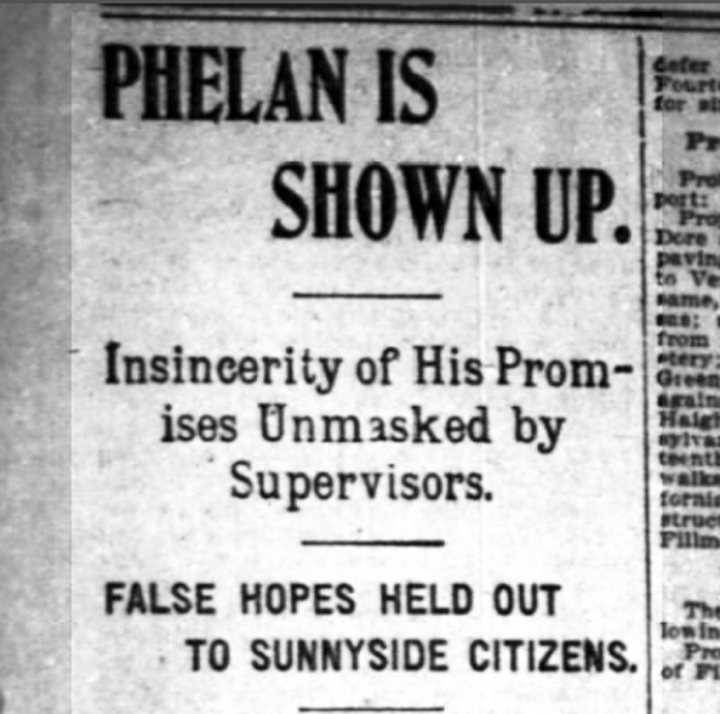 """""""Phelan is Shown Up"""" SF Chronicle, 1 November 1898. From newspapers.com."""