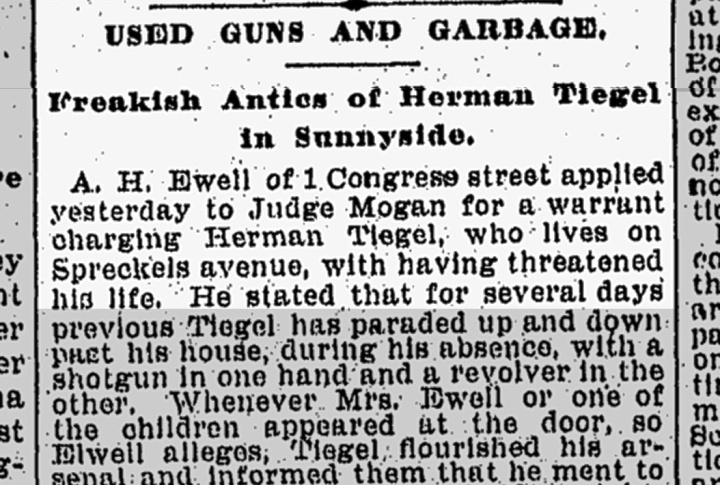 """More charges against Herman Tiegel. Congo Street misreported as """"Congress"""" Street. From SF Chronicle, 17 Nov 1898. From Newsbank.com."""