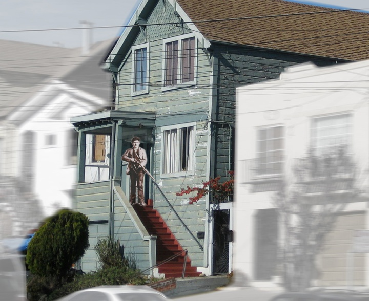 The Tiegels' house at 18 Spreckels Avenue (now 46 Staples Avenue). Photo and imaginary composite: Amy O'Hair.