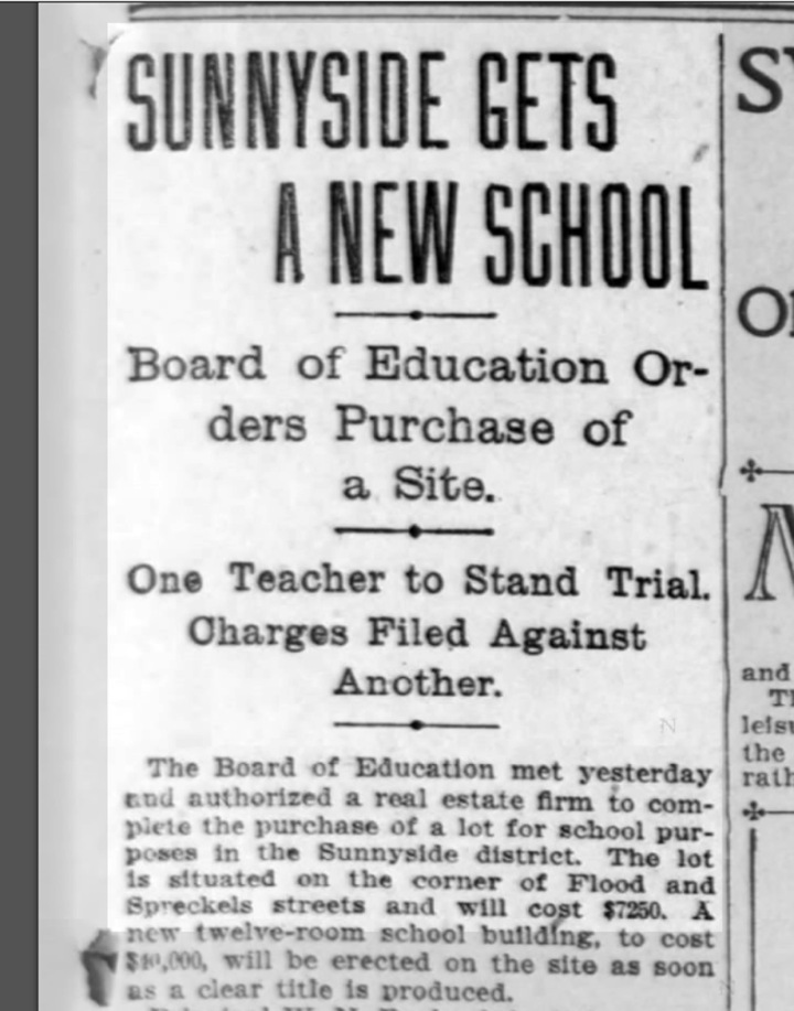 """""""Sunnyside Gets a New School"""" SF Call, 21 November 1901. From newspapers.com."""
