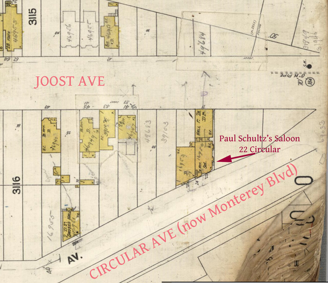 1905 Sanborn Map, showing location of saloon at 22 Circular Ave. From DavidRumsey.com.