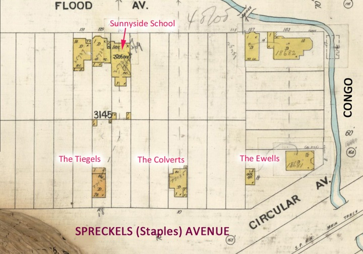 1905 Sanborn map, showing the homes involved in this feud. The house at the top was used as Sunnyside School from 1896 to 1909. From DavidRumsey.com, with additional annotations.