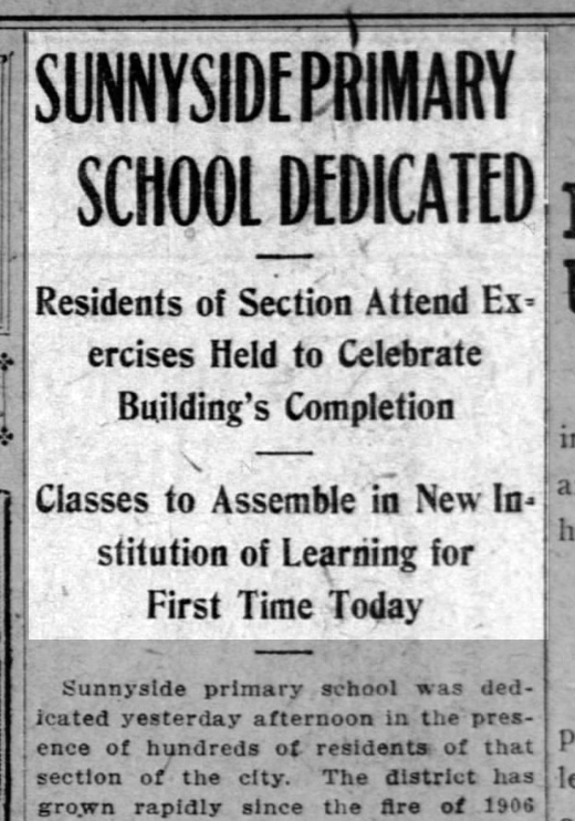 """""""Sunnyside Primary School Dedicated"""" SF Call, 12 April 1909. From newspapers.com."""