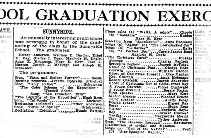 Graduation program, SF Chronicle, 19 Dec 1914. From newsbank.com.