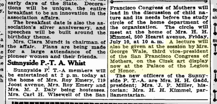 Speaker comes to PTA meeting to talk about Cizek Exhibit. SF Chronicle, 7 July 1925. From newsbank.com.