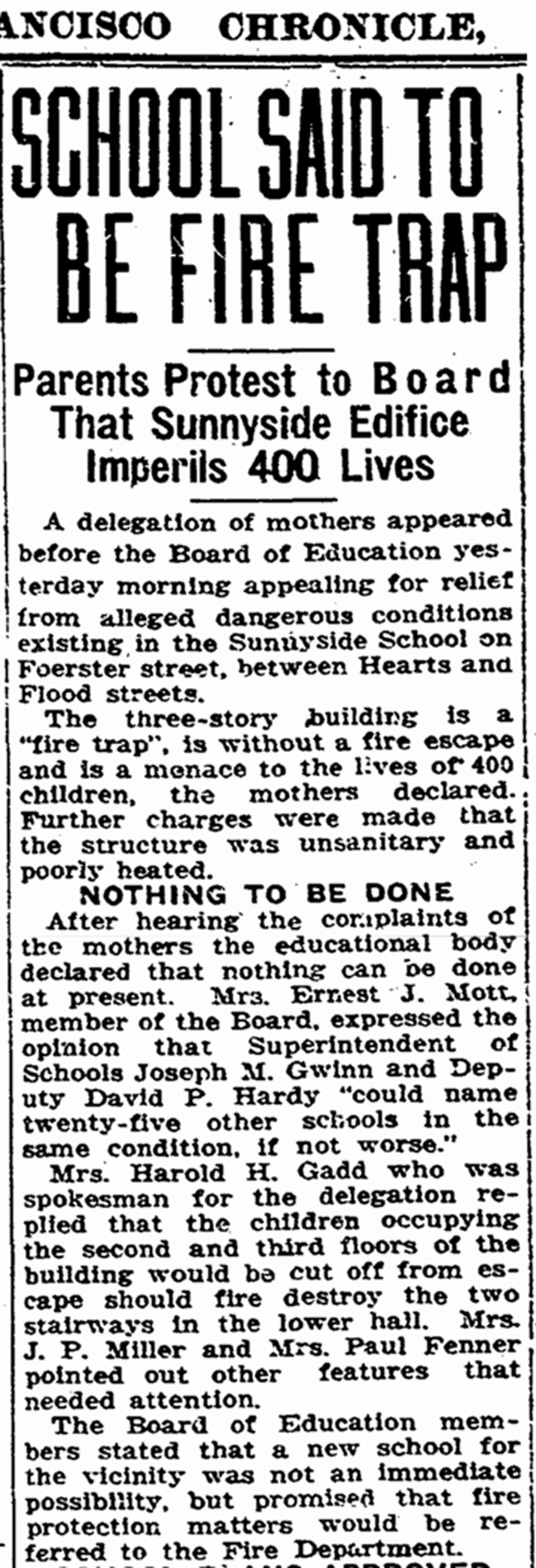 """""""School Said to be Firetrap,"""" SF Chronicle, 23 July 1925, page 3."""