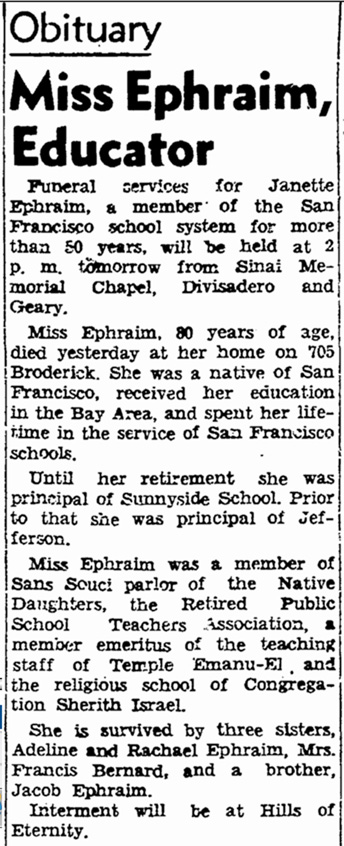 Obituary for Janette Ephraim, SF Chronicle, 25 August 1940.
