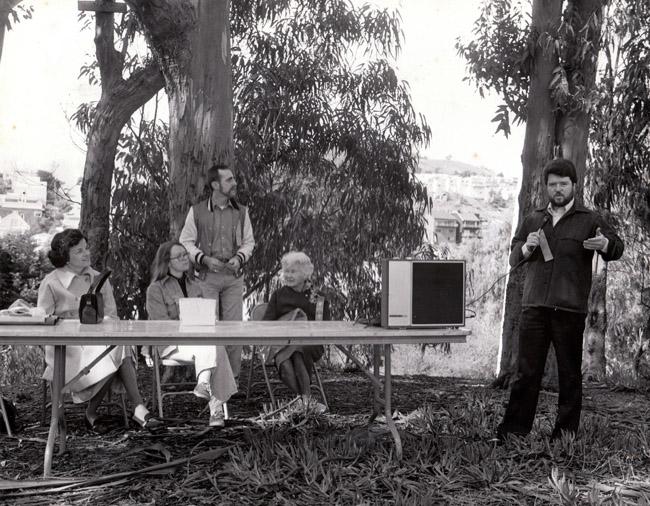 February 1979 dedication of Dorothy Erskine Park. From left to right: Mayor Dianne Feinstein, X, Y, Dorothy Erskine, and Ken Hoegger.