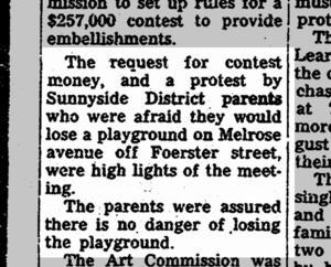 Before the Board of Supervisors, Sunnyside parents protest the possible loss of the still unbuilt playground. SF Chronicle, 2 May 1962.