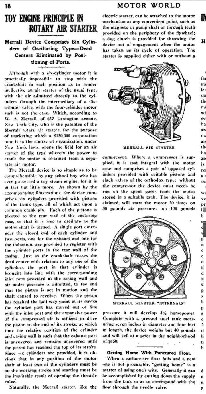 A description of Merralls' compressed-air engine starter, from Motor World, 20 February 1913.
