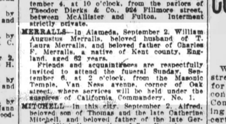 Obituary of W.A. Merralls, SF Chronicle, 4 Sept 1914.