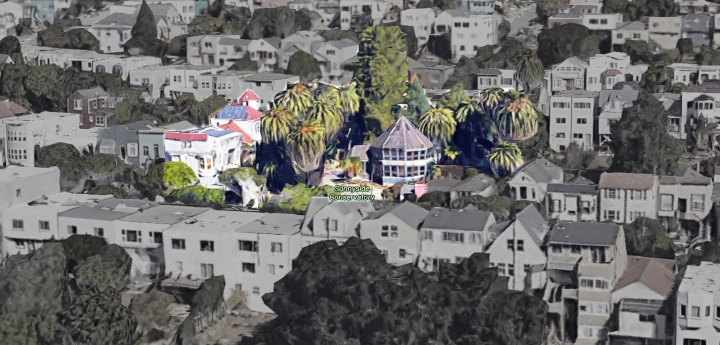 Conservatory and house complex that once formed the Merralls' property. Altered Google Earth image. 2016.