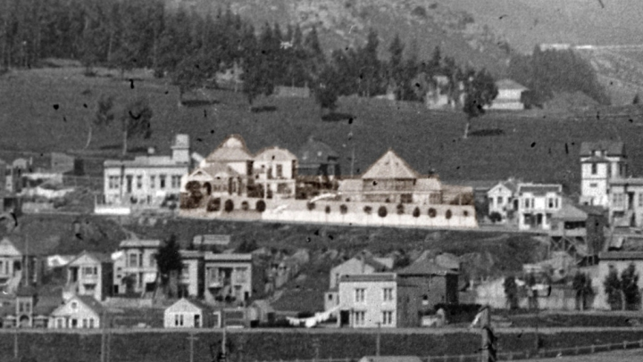 Altered panorama from c.1913, showing the Merralls' Conservatory and house complex. High resolution scan courtesy Jacqueline Proctor, MtDavidson.org.