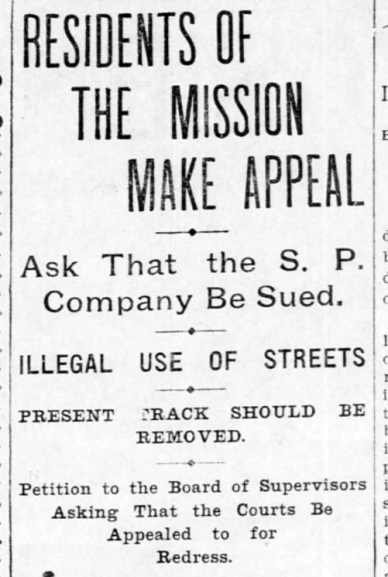 Call for Mission tracks to be removed. SF Call, 11 June 1899.