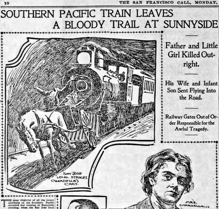 The Chardella family devastated by train collision. SF Call, 2 October 1899.