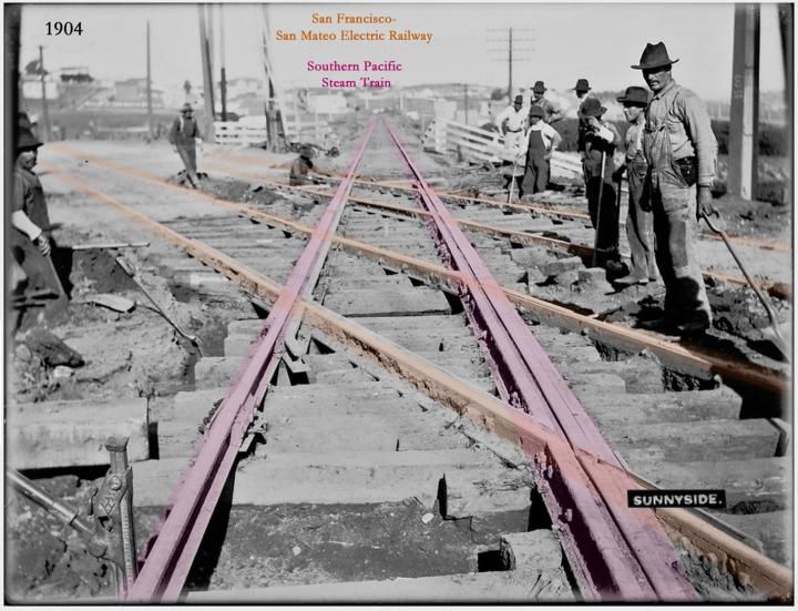 The Sunnyside crossing, 1904. Looking northwest. Photo courtesy SFMTA sfmta.photoshelter.com.