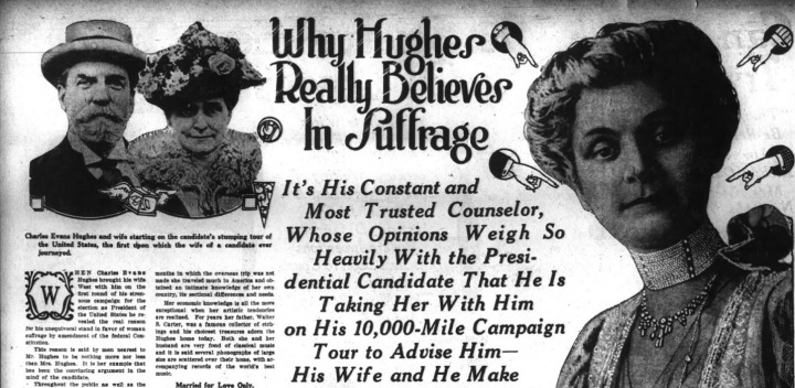 Hughes was seen as clearly pro-suffrage, while Wilson waffled. SF Chronicle, 27 Aug 1916.