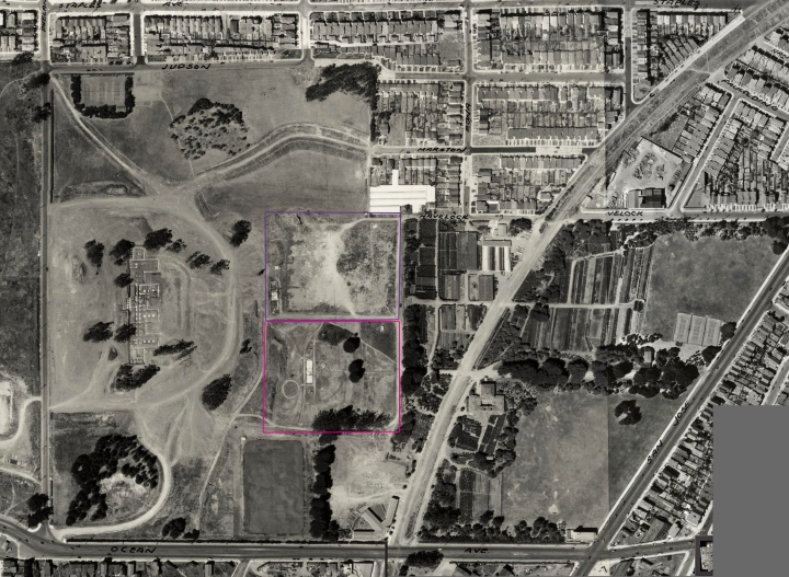 1938 aerial photo, altered to show location men's jail (purple) and womens' jail (pink) shortly after buildings demolished. From DavidRumsey.com. Click for larger image. https://sunnysidehistory.files.wordpress.com/2017/05/1938-aerial-balboapark-inglesidejail-marked.jpg?w=720