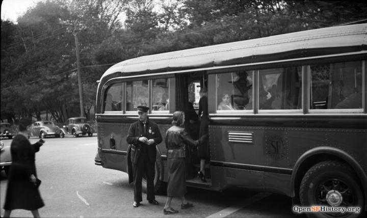 1938, Bus no.1 stopping at Forest Hill Station. OpenSFHistory WNP14.1181.