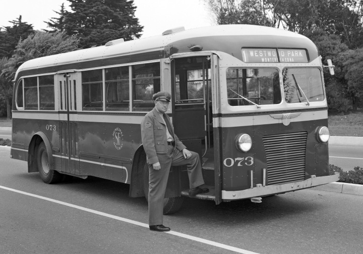1941. New make of bus. And the uniform tie appears to have returned to a more normal length. Photo courtesy SFMTA D4630. http://sfmta.photoshelter.com.