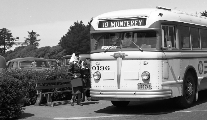 1949. The no.10 Monterey bus, still going to Golden Gate Park. Photo courtesy SFMTA, cropped from X2022. http://sfmta.photoshelter.com.