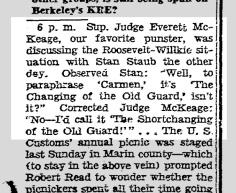 From Herb Caen's column, 1 Aug 1940.